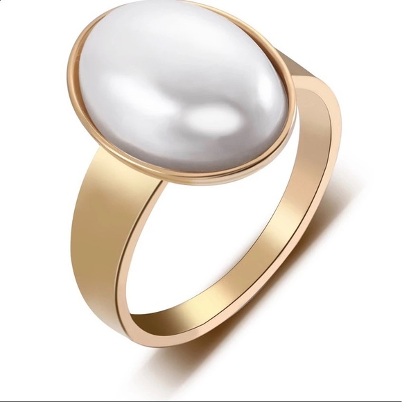 Anthropologie Jewelry - New Anthro Stainless steel gold pearl ring